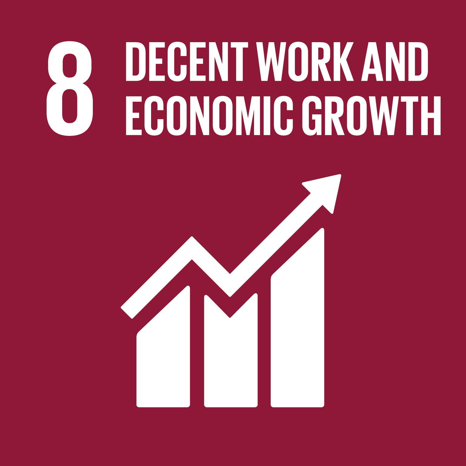 Decent work and economic growth logo.